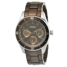 Fossil Women's ES3033 Stella Brown Aluminum and Stainless Steel Watch Fossil. $68.00. Case diameter: 37 mm. Quartz movement. Mineral crystal. Water resistant to 50 m. Brown satin with three mother of pearl subdials