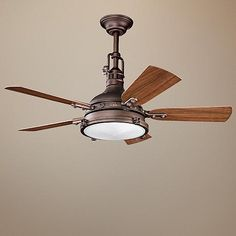 "44"" Kichler Hatteras Bay Weathered Copper Finish Ceiling Fan"