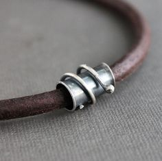 Mens Leather Cord Necklace Sterling Silver Wire Wrapped Tube