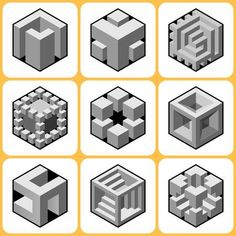 Illustration of cube icons set 6 vector art, clipart and stock vectors. Isometric Cube, Impossible Shapes, 3d Geometric Shapes, Dot Tattoos, Photo Images, Cube Design, Concrete Art, Banner Printing, Op Art