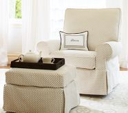 PB Kids Comfort Grand Swivel Glider Set in natural chenille dot - this chair is so comfy!!