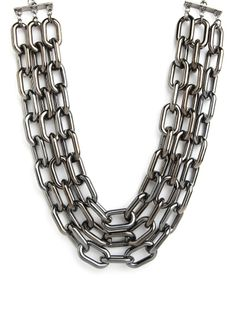Our Triple Hematite Collar.  Layer it with something silver, and then pair with black leather or silk!