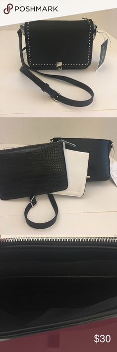 """Nine West GWYN Flap Crossbody NWT Petite Crossbody Bag that you can can the look with 3 interchangeable front flap via zipper closure.  Features: Faux Leather, Measures approximately 8""""W x 6-1/2""""W x 2-1/2""""D, 23""""L Adjustable Strap, Magnetic-snap Lock, 1 Exterior slip pocket & interchangeable Flaps with Zipper Closure, 1 Interior slip pocket Nine West Bags Crossbody Bags"""