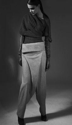 Bias cut trousers with folded waistband; innovative pattern cutting; modern tailoring details // Verlaine