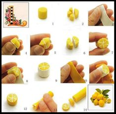 DIY polymer clay lemon Trending Craft Ideas Using Paper Mache, Air Dry Clay, Colored Sand and Crotch Polymer Clay Kunst, Cute Polymer Clay, Cute Clay, Polymer Clay Canes, Polymer Clay Miniatures, Polymer Clay Projects, Polymer Clay Jewelry, Clay Beads, Diy Fimo