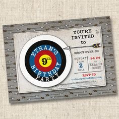 Shoot Over for an Archery Party Custom Photo Card Invitation Design- any age on Etsy, $16.00