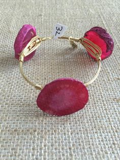 Bourbon and Boweties Pink Agate Large Wrist