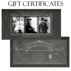 Sell the gift of your photography with Gift Certificate templates from Ashe Design!  Our line of Gift Certificate templates lets you sell professionally designed gift cards to all your best customers, so they can share your talent with all of their friends and family.