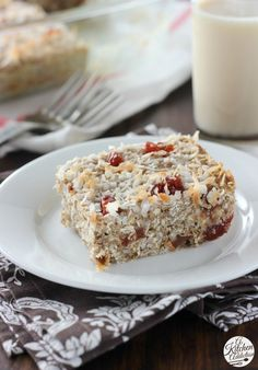 Soft Baked Strawberry Coconut Protein Bars  www.a-kitchen-addiction.com