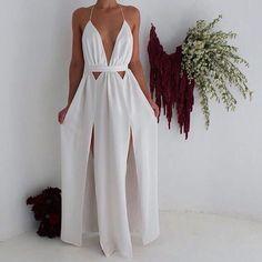 Sexy Floor Length Prom Dress - White Cut