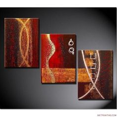 Acrylic+Painting+Ideas | Abstract Paintings 3pcs Canvas Set Modern Wall Art Acrylic Handmade ...
