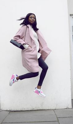 9cb44b749a31d Fresh pink outfit with coat and sneakers Nike Air Max 90  nike  airmax