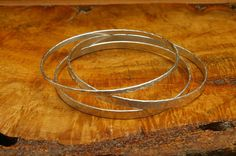 Sterling Silver Bangle 4mm x 1mm hammered by StoneChapelJewelry
