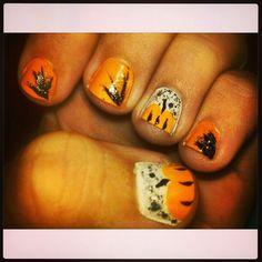 Halloween 2013 pumpkin nails