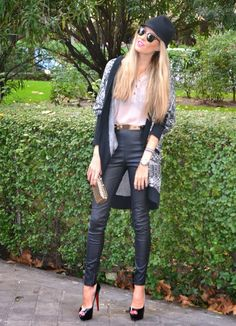 Leather pants & Lovely hat - BY MY HEELS