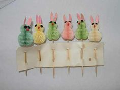 Vintage Honeycomb Bunny Rabbit Easter Decorations Cupcake Picks
