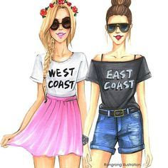 Cute cheer picture ideas cute bff pics: fashion illustration for best friends by fashion Bff Pics, Friend Pictures, Best Friend Drawings, Bff Drawings, Cute Drawings Of Girls, Best Friend Sketches, Drawing Of Best Friends, Easy Drawings, Fashion Sketches