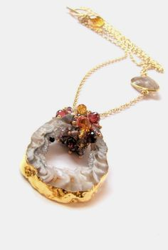 Druzy Agate Geode pendant double strand necklace