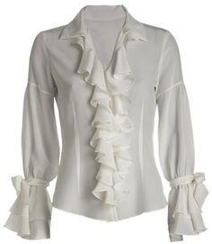 camisa feminina com babado 8 Skirt Fashion, Fashion Outfits, Womens Fashion, Timeless Fashion, Vintage Fashion, Beautiful Blouses, White Shirts, Blouse Styles, White Tops