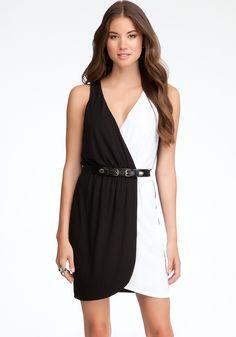 bebe | V-Neck Colorblock Belted Dress - View All