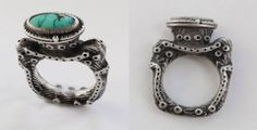 Carl Stanley cast in sterling silver from carved cuttlebone turquoise