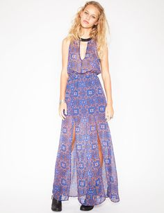 Slit silky maxi dress