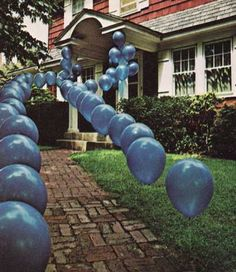 Party Entrance Idea- use golf tees to keep balloons in the ground (also cute for new parents coming home from hospital w baby...line walkway/driveway pink for girl, blue for boy or both for boy/girl twins!)