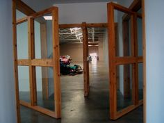The Chamberlain Building, Marfa Texas USA,Donald Judd; the pivoting doors are very nice, squares divided in squares...