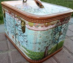 Camille McClelland modge podge art train case hand-painting, leather-tooling, sketches, silhouettes -WOW