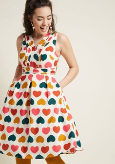 Surely Sweet A-Line Dress with Pockets - There's no questioning just how darling you look, especially when this ivory fit and flare is involved! From our ModCloth namesake label, this playful dress bolsters your charm with its pintucked neckline and waist, hidden pockets, and colorful pattern of hearts galore. Just lovely!