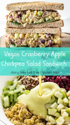 Keep lunch interesting with this Vegan Cranberry Apple Chickpea Salad Sandwich. … Keep lunch interesting with this Vegan Cranberry Apple Chickpea Salad Sandwich. Made with just 12 simple ingredients. Vegan Dinner Recipes, Veggie Recipes, Whole Food Recipes, Cooking Recipes, Healthy Recipes, Vegan Sandwich Recipes, Raw Lunch Recipe, Cranberry Recipes Vegan, Family Recipes
