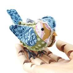 Fabric Bird BLUE TIT CHICK by TheCottonPotter on Etsy, £25.00
