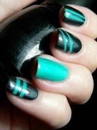 love the colors and the ring finger! Hot Nails, Hair And Nails, Nail Polish Designs, Nail Art Designs, Holiday Nail Art, Funky Nails, Creative Nails, Manicure And Pedicure, Nails Inspiration