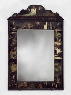 Mirror Place of origin: China (the lacquer panel, made) England, Great Britain (The mirror frame and veneering, made) Date: ca. Vintage Mirrors, Antique Frames, Old Frames, Chinese Furniture, European Furniture, Axminster Carpets, Lacquer Furniture, V & A Museum, Victoria And Albert Museum