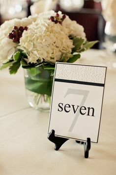 READY to SHIP-Wedding Reception Table Number- Handmade- Embossing with ribbon. $60.00, via Etsy.