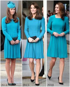The Duchess of Cambridge was back in her beautiful turquoise Emilia Wickstead dress for today's visit to the BBC for Anti Bullying Week. Looks Kate Middleton, Estilo Kate Middleton, Princess Katherine, Princess Charlotte, Anti Bullying, Duchesse Kate, Herzogin Von Cambridge, Estilo Real, Looks Chic