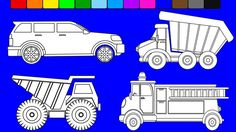 Super monster truck coloring pages | Learn colors | Coloring videos for ...