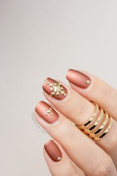 Bronze studded nails by #SoNailicious. Manicure details: Manicure details: http://sonailicious.com/bronze-studded-nails/