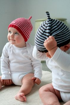 handknitted baby hats
