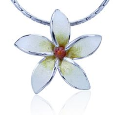 f4b4a182e3d Check out the deal on Guy Harvey Plumeria Flower Necklace - Enameled and  Crafted in Sterling