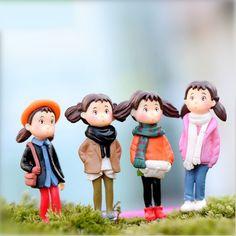Small size 2pcs/lot girl toy Figurines Home Decorations,Landscape Bonsai Plant Garden Ornament,mini girl dolls free shipping