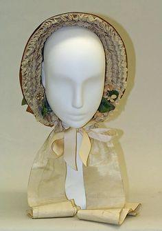 Poke bonnet Date: 1856 Culture: American Medium: straw Dimensions: Height: 12 in. (30.5 cm); Length: 9 1/2 in. (24.1 cm)