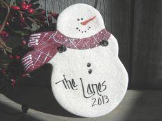A cute neighbor or friendship ornament! Handcrafted in salt dough, Personalized snowman salt dough ornament. The BEST salt dough! Salt Dough Christmas Ornaments, Clay Ornaments, Felt Christmas, Christmas Projects, Holiday Crafts, Snowman Ornaments, Christmas Time, Decoration Christmas, Snowman Crafts