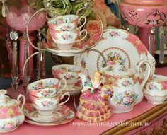 Lady Carlyle china pattern, displayed by The Vintage Table Pink lamps help to complete the theme. Wow! .https://scontent-mia1-1.xx.fbcdn.net/hphotos-xpf1/v/t1.0-9/10299528_599264693509583_8653548114601225386_n.jpg?oh=3cf867a3179abfaabb54778c2818e710&oe=565F2A26
