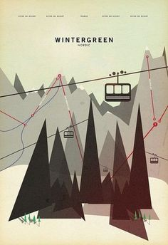 Wintergreen, poster design. travel destination / city in only geometric shapes