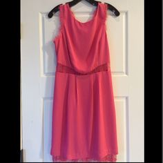 BCBG Pink Lace Dress Pink lace short dress. Super cute - great for spring/summer weddings or date night. Bought but never worn. Lace detail on back is really fun and flattering. BCBGMaxAzria Dresses Wedding