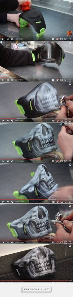 Airbrushing the Facemask of Bell Rogue Chin Guard Step by Step
