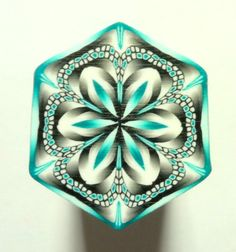 LARGE Black White and Peacock/Green Hexagon Polymer by ClaybyKerm, $10.00