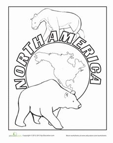 North America Coloring Page Worksheet
