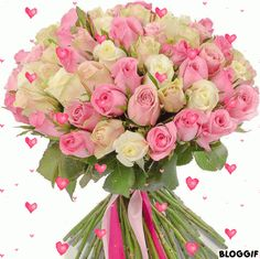 Beautiful Bouquet Of Flowers, Types Of Flowers, Beautiful Roses, Happy Birthday Flowers Gif, Happy Birthday Video, Flower Boxes, My Flower, Rose Of Sharon, Special Flowers